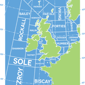 Shipping Forecast Weather Map rustic digital canvas wall art print