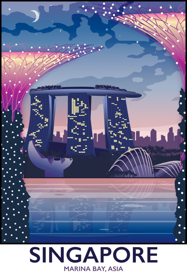 Singapore, Marina Bay rustic digital canvas wall art print