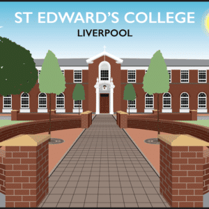St Edward's College, Liverpool rustic digital canvas wall art print