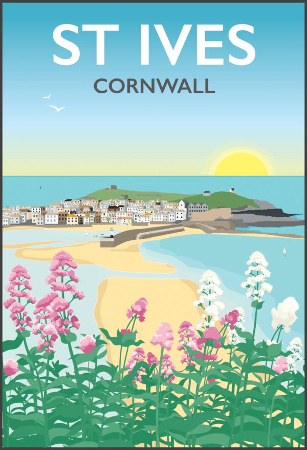 St Ives, Cornwall rustic digital canvas wall art print