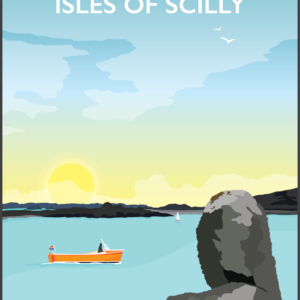 St Martin's, Isles of Scilly rustic digital canvas wall art print