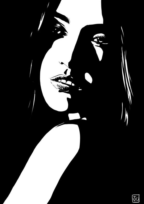 stare 5 digital comic illustration wall art canvas framed prints