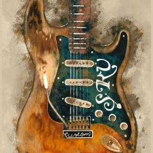 Stevie Ray Vaughan's guitar digital canvas artwork prints