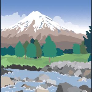 Taranaki Mountains rustic digital canvas wall art print