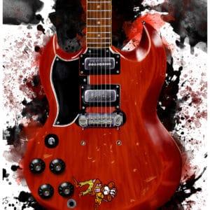 Tony Iommi's Monkey Guitar digital canvas artwork prints