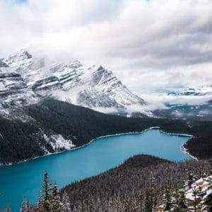 Wintry Peyto Lake landscape photography canvas and framed wall art