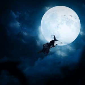 Witch on Full Moon surreal digital wall art prints