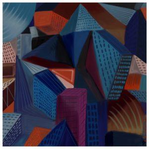 blue city 2 abstract framed wall art