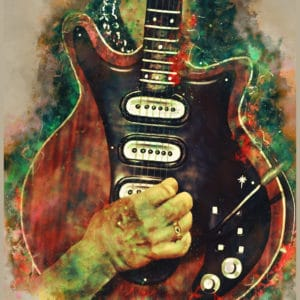 brian may's guitar digital canvas artwork prints
