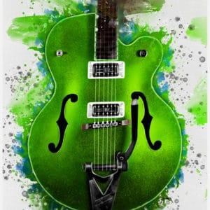 brian setzer's guitar digital canvas artwork prints
