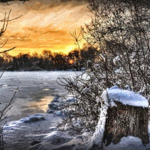 frozen lake at sunset abstract framed wall art canvas prints