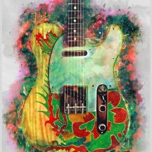 jimmy page's dragon electric guitar digital canvas artwork prints