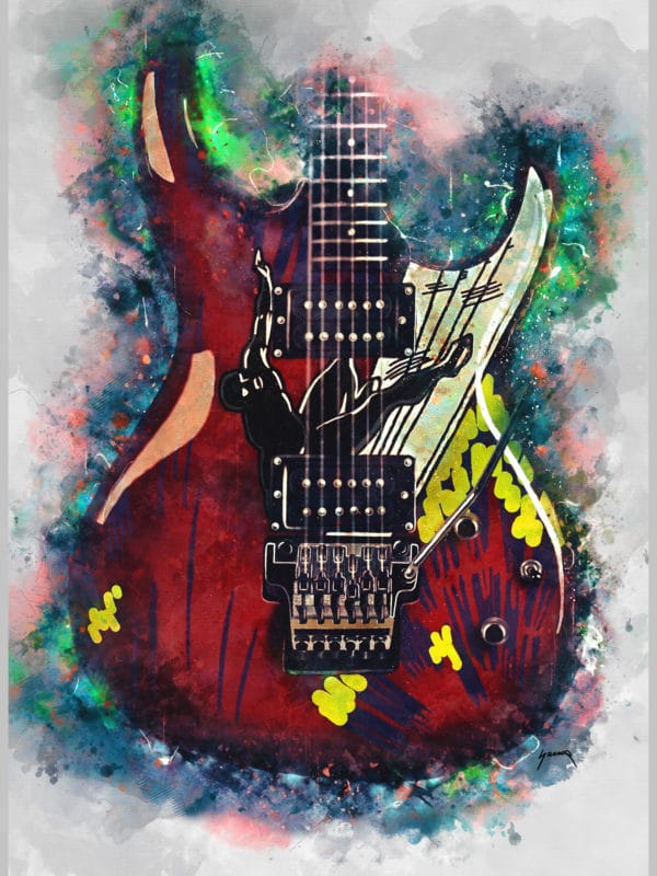 joe satriani's alien guitar digital canvas artwork prints