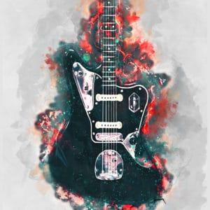 johnny marr's electric guitar digital canvas artwork prints