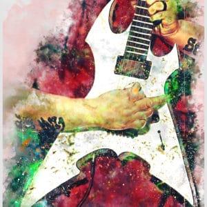 mick thomson's electric guitar digital canvas artwork prints