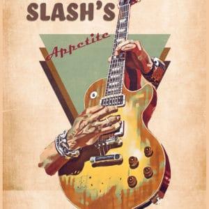 slash guitar retro digital canvas artwork prints