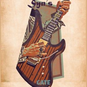 syn gates's guitar retro digital canvas artwork prints