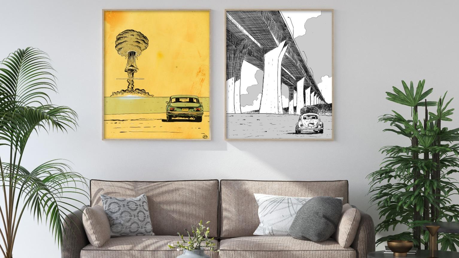 digital comic illustration wall art canvas framed prints
